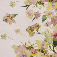 植物图案真丝棉数码一面料印花