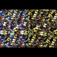 蝴蝶花纹印花皮革