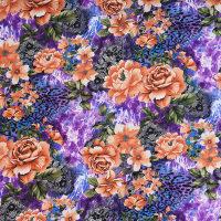 现货植物图案化纤春亚纺面料