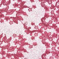 玫红针织蕾丝面料