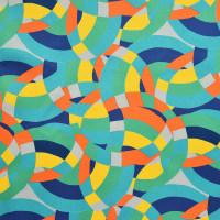 几何图案棉纺贡缎面料-数码印花