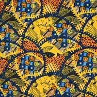 抽象图案棉纺纱卡面料-数码印花