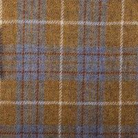 苏格兰进口Harris Tweed哈里斯粗花呢100%羊羔毛黄色格子手工织造