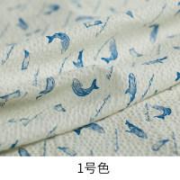 1号 白色 春夏泡泡纱小鱼印花棉布