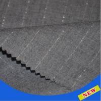全毛精纺灰色竖条纹银丝西装面料