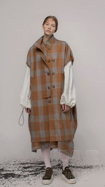 新款热销双面格子加厚粗纺毛呢面料秋冬优质羊毛时尚面料