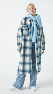新品热卖单面羊毛格子长毛面料秋冬大衣呢料